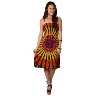 Funky People Juniors Retro Print Spaghetti Strap Dress