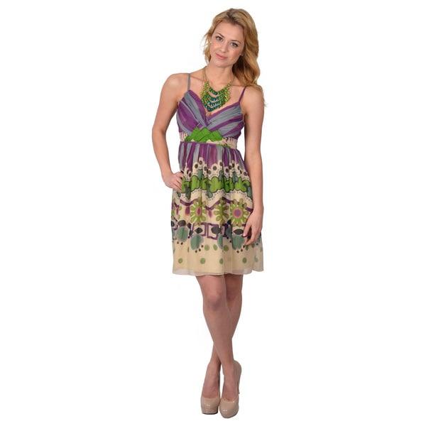 Journee Collection Women's Floral Print Spaghetti Strap Dress
