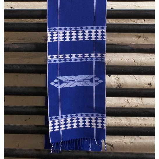 Traditional Royal-blue Cotton Unlined Hanukkah Tapestry (Guatemala)