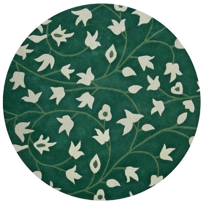 Hand-tufted Anabell Green Wool Rug (6' Round)