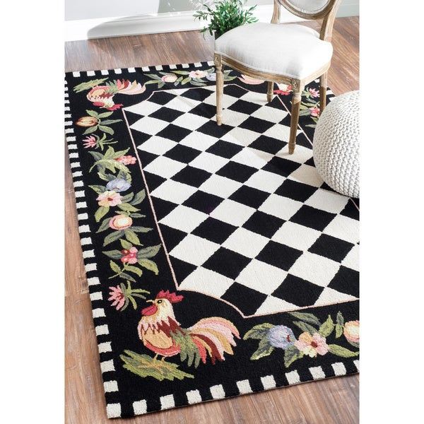 NuLOOM Hand-hooked Moroccan Rooster Checkered Wool Rug (7
