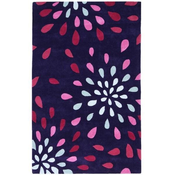 Hand-tufted Purple Rain Wool Rug - 8' x 11'