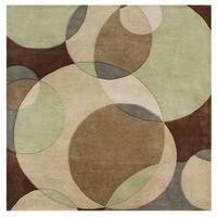 Alliyah Handmade Brown New Zealand Blend Wool Rug (6' Square) - 6'