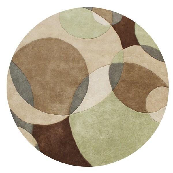 Alliyah Handmade Brown, Light Brown, Sand, and Light Green New Zealand Blend Wool Rug (6' Round)