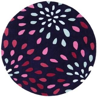 Hand-tufted Purple Rain Purple Wool Rug (8' Round) - 8' x 8'