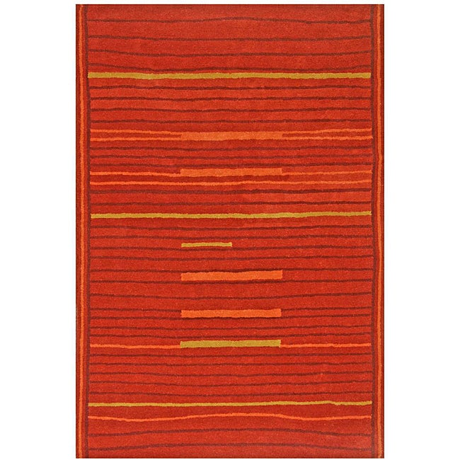 Hand-tufted Lineage Rust Wool Rug - 8' x 11'