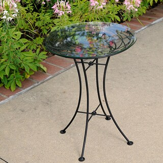 Handmade Wrought Iron Glass-topped Looping Side Table (Philippines)