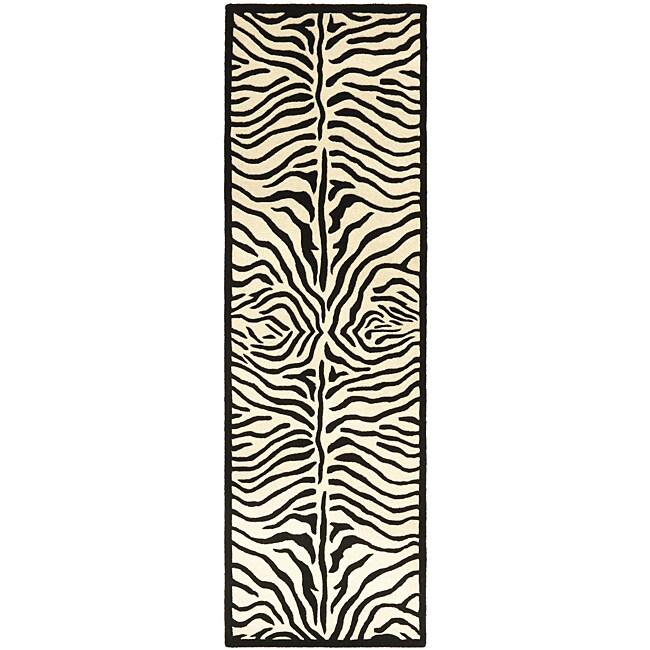 Hand-tufted Zebra Black/ White Wool Rug - 2'6 x 12'