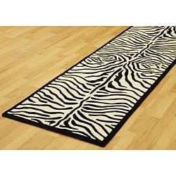 Hand-tufted Zebra Black/ White Wool Rug (2'6 x 12') - Thumbnail 1