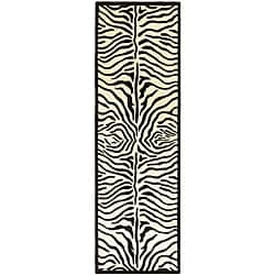 Hand-tufted Zebra Black/ White Wool Rug (2'6 x 12')