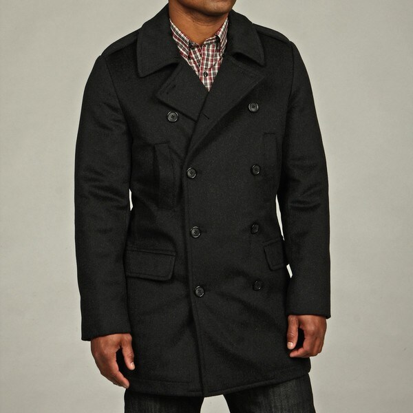 Kenneth Cole New York Men's Wool Blend Military Peacoat - Free ...