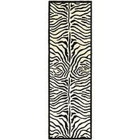 Hand-tufted Zebra Black/ White Wool Rug (2'6 x 8') - 2'6 x 8'