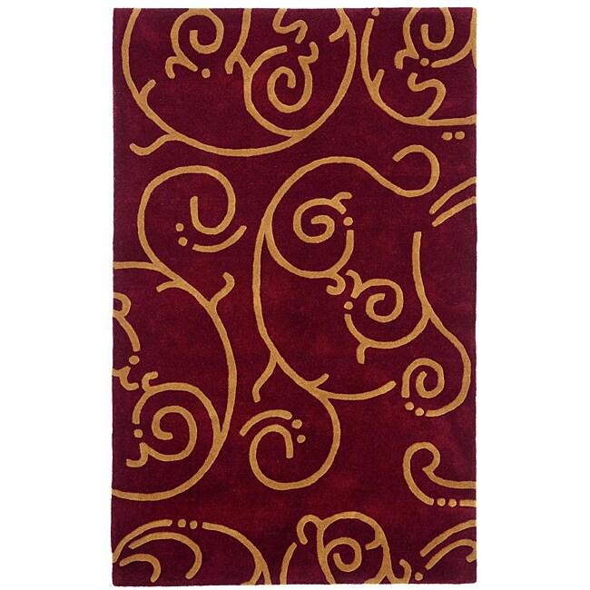 Hand-tufted Archer Burgundy Wool Rug (4' x 6')