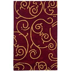 Hand-tufted Archer Burgundy Wool Rug (4' x 6') - 4' x 6' - Thumbnail 0