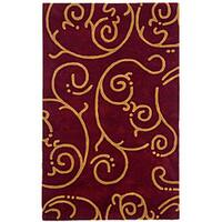 Hand-tufted Archer Burgundy Wool Rug (4' x 6') - 4' x 6'