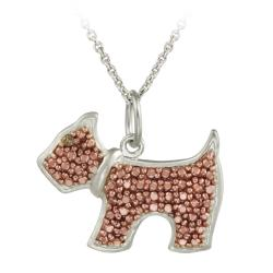 DB Designs Rose Gold over Silver Champagne Diamond Accent Dog Necklace