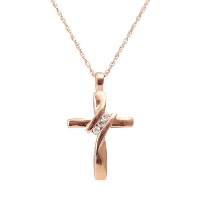 10k Rose Gold and Diamond Accent Cross Necklace