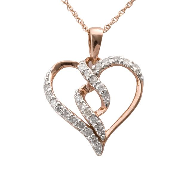 10k Rose Gold 1/4ct TDW Diamond Twisted Heart Necklace