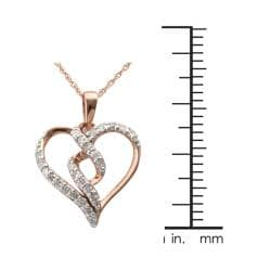 10k Rose Gold 1/4ct TDW Diamond Twisted Heart Necklace - Thumbnail 2