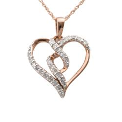 10k Rose Gold 1/4ct TDW Diamond Twisted Heart Necklace (I-J, I2-I3)