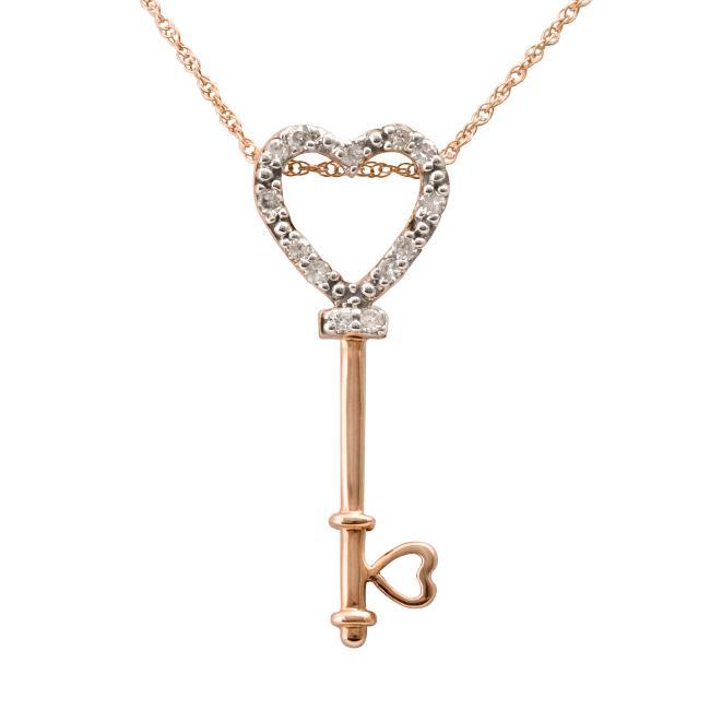 10k Rose Gold 1/10ct TDW Diamond Heart Key Necklace (I-J, I2-I3)