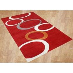 Alliyah Handmade Red  New Zealand Blend Wool Rug (8' x 10') - Thumbnail 1