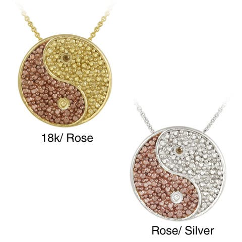 DB Designs Rose Gold over Silver Champagne Diamond Accent Yin-yang Necklace