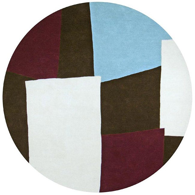 Hand-tufted Impressions Brown Wool Rug (6' Round)