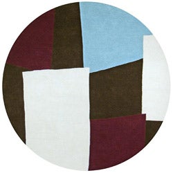 Hand-tufted Impressions Brown Wool Rug (6' Round) - 6' x 6' - Thumbnail 0