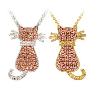 DB Designs Champagne Diamond Accent Cat Necklace (Option: Yellow)|https://ak1.ostkcdn.com/images/products/5798185/P13519210.jpg?impolicy=medium