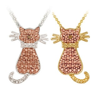 DB Designs Champagne Diamond Accent Cat Necklace