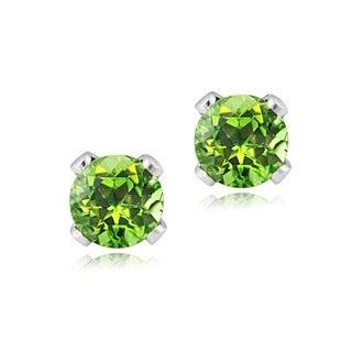 Glitzy Rocks Sterling Silver 3-mm Peridot Stud Earrings