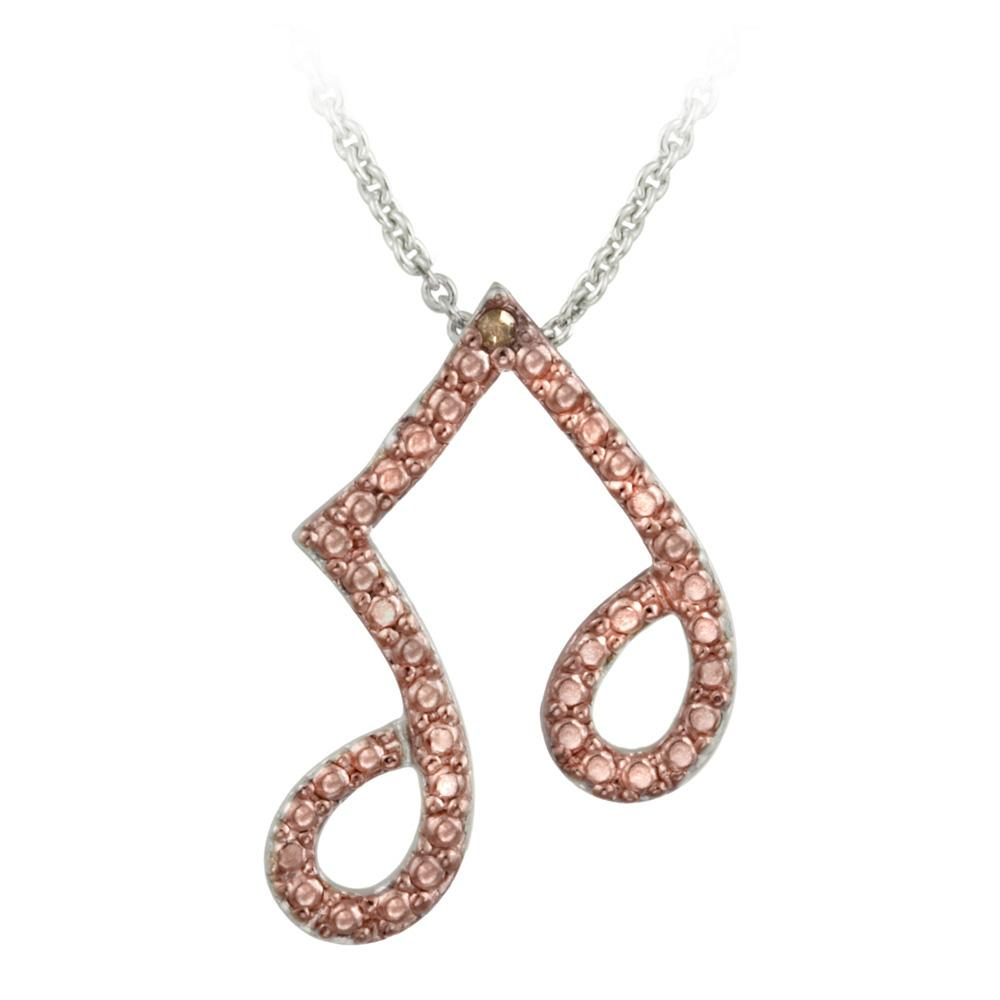 DB Designs Rose Gold over Silver Champagne Diamond Accent Musical Note Necklace