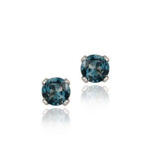 Glitzy Rocks Sterling Silver 1/4ct TGW 3-mm London Blue Topaz Stud Earrings