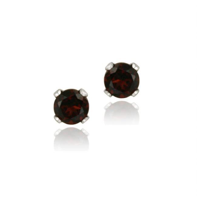 Glitzy Rocks Sterling Silver 3mm Garnet Stud Earrings