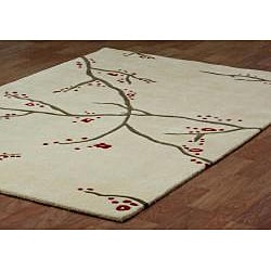 Hand Tufted April Sky Beige Wool Rug 8 X 11 Free