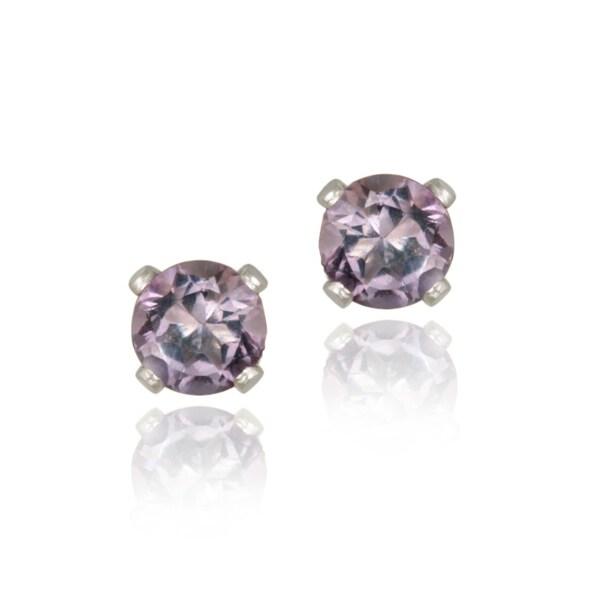 Glitzy Rocks Sterling Silver 1/2ct TGW 4mm Amethyst Stud Earrings