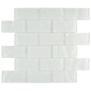 SomerTile 11.75x11.75-inch Reflections Ripple Super White Glass Mosaic Wall Tile (10 tiles/9.6 sqft.)