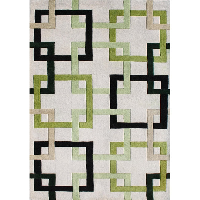 Alliyah Handmade Tufted Beige/ Linden Green/ Black/ Lime Intersecting Squares/ Puzzles New Zealand Blend Wool Rug