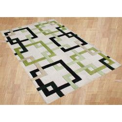 Alliyah Handmade Tufted Beige/ Linden Green/ Black/ Lime Intersecting Squares/ Puzzles New Zealand Blend Wool Rug - Thumbnail 1