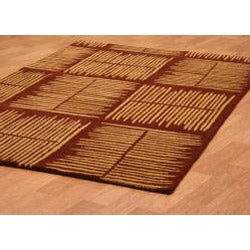 Hand-tufted Thatch Brown Wool Rug (8' x 11') - Thumbnail 1