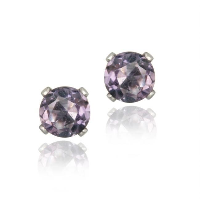 Glitzy Rocks Sterling Silver 4/5ct TGW 5mm Amethyst Stud Earrings