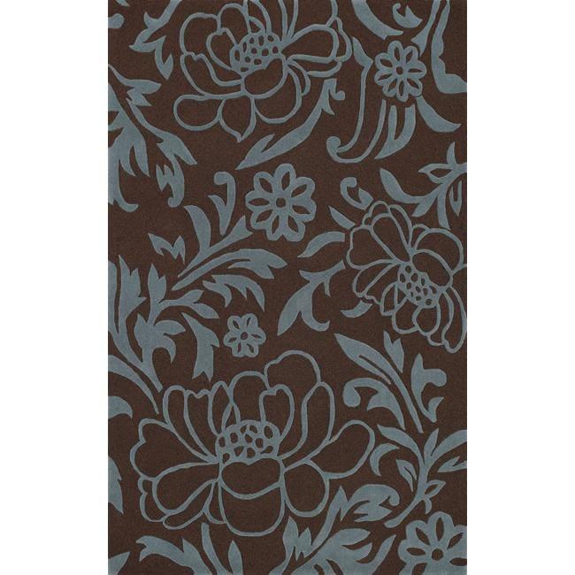 nuLOOM Handmade Pluto Collection Eden Garden Brown Wool Rug (8' x 11')