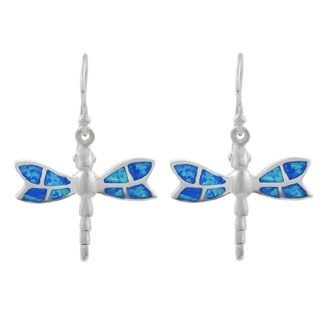 Journee Sterling Silver Blue Opal Dragonfly Earrings - Thumbnail 0