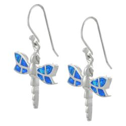 Journee Sterling Silver Blue Opal Dragonfly Earrings - Thumbnail 1