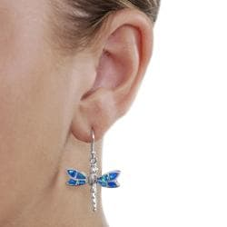 Journee Sterling Silver Blue Opal Dragonfly Earrings - Thumbnail 2