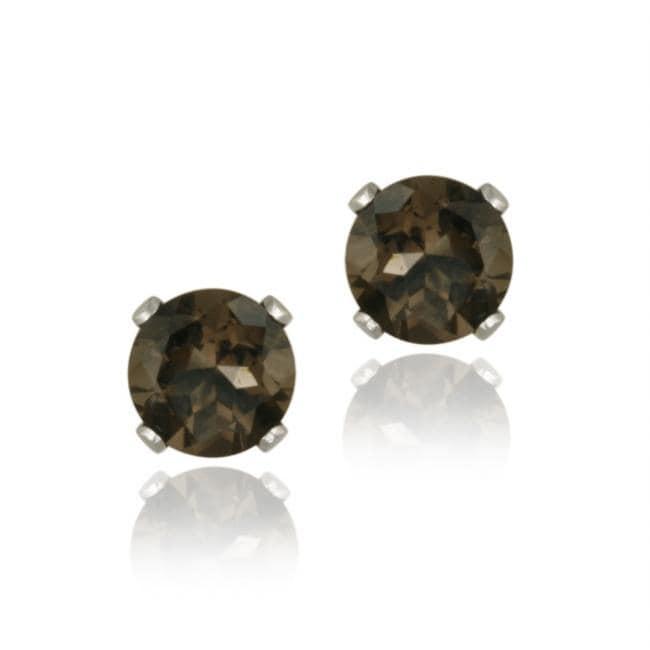 Glitzy Rocks Sterling Silver 1 1/6ct TGW 5mm Smokey Quartz Stud Earrings