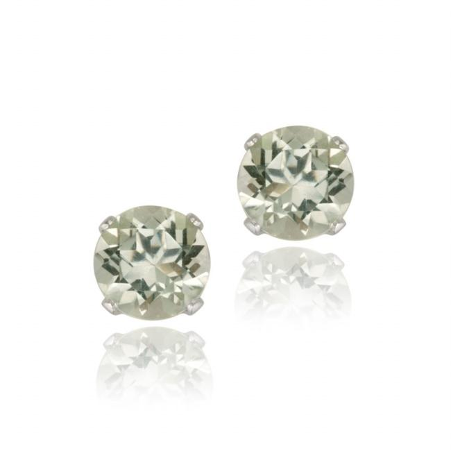 Glitzy Rocks Sterling Silver 1 1/2ct TGW 6mm Green Amethyst Stud Earrings