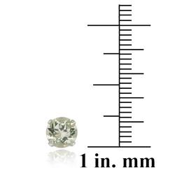 Glitzy Rocks Sterling Silver 1 1/2ct TGW 6mm Green Amethyst Stud Earrings - Thumbnail 2