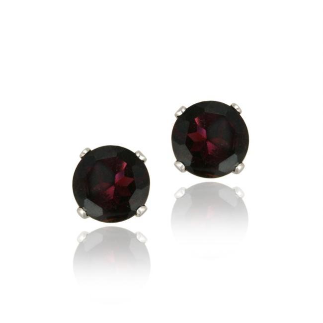 Glitzy Rocks Sterling Silver 2 2/5ct TGW 6mm Garnet Stud Earrings